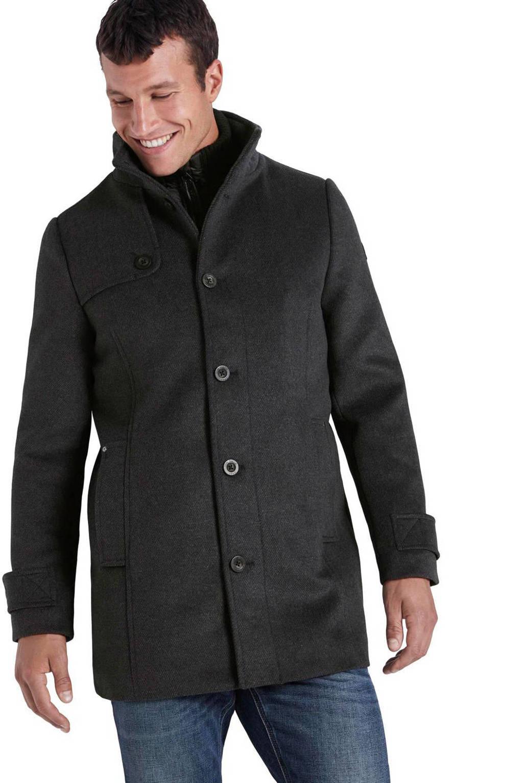 Tom Tailor jas met wol donkerblauw, Donkerblauw