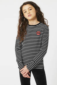 CoolCat Junior gestreepte longsleeve Lauren zwart/wit/rood, Zwart/wit/rood