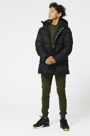 gewatteerde jas Jerry met tekst zwart