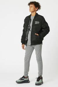 CoolCat Junior gewatteerde winterjas Jeffrey met tekst zwart, Zwart