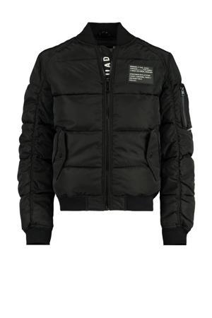 gewatteerde jas Jeffrey met tekst zwart