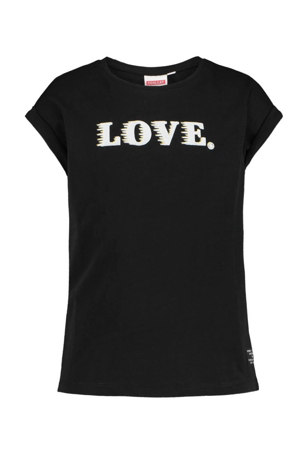 CoolCat Junior T-shirt Elona met tekst zwart/wit, Zwart/wit