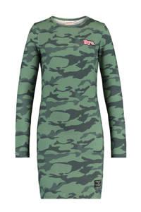 CoolCat Junior jurk Daantje met camouflageprint donkergroen, Donkergroen