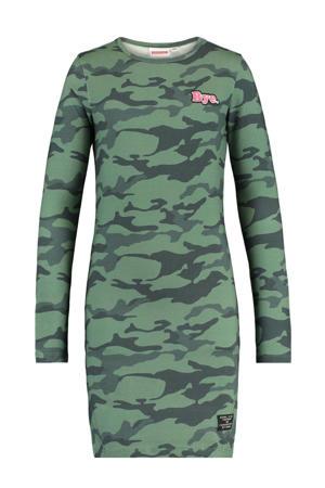 jurk Daantje met camouflageprint donkergroen