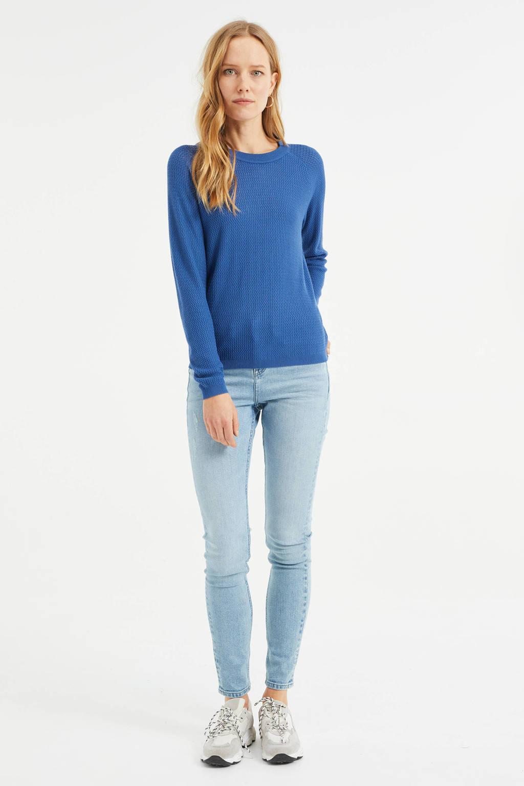 WE Fashion fijngebreide trui donkerblauw, Donkerblauw