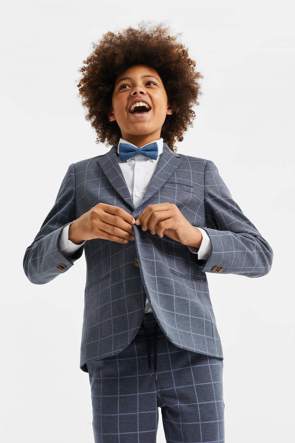 WE Fashion geruit colbert donkerblauw, Donkerblauw