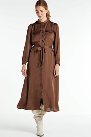 blousejurk met ceintuur bruin