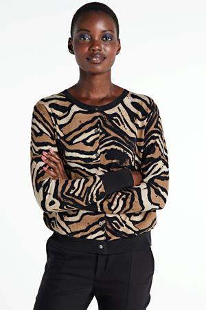 fijngebreid vest met zebraprint bruin/zwart/beige