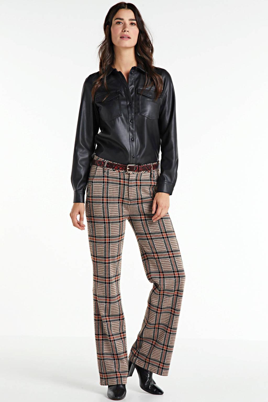 Summum Woman geruite high waist straight fit broek bruin/zwart, Bruin/zwart