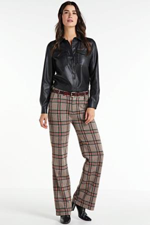 geruite high waist straight fit broek bruin/zwart