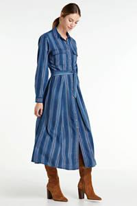 Summum Woman gestreepte maxi jurk blauw, Blauw