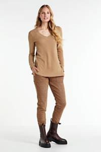 Summum Woman slim fit broek met panterprint bruin, Bruin
