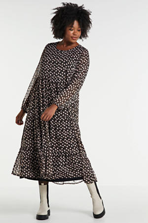 semi-transparante jurk Elly met paisleyprint en volant zwart/multi