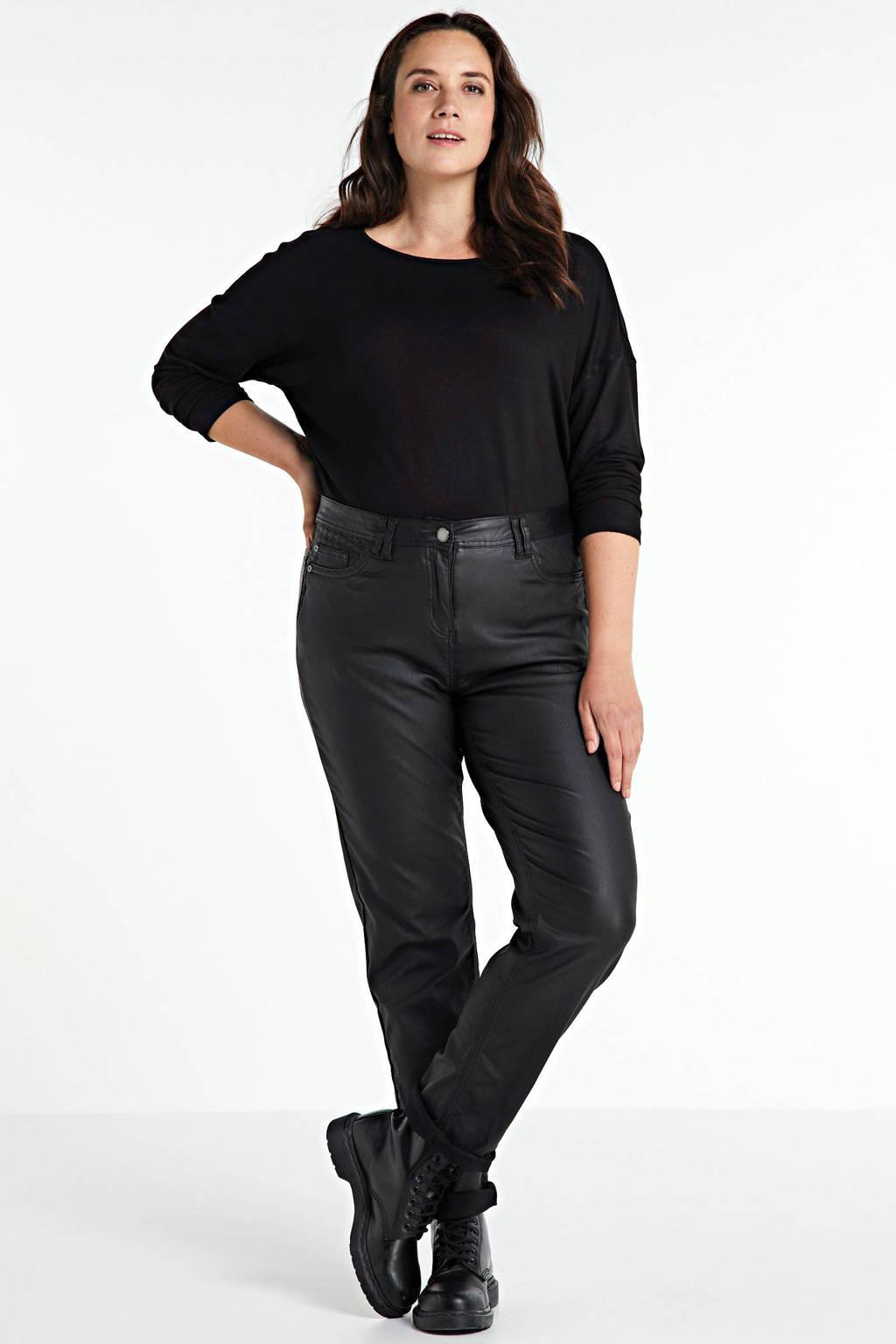 Zhenzi coated straight fit broek Salsa zwart, Zwart