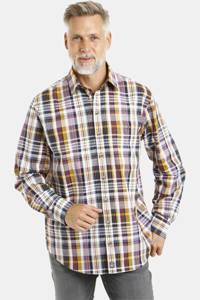 Jan Vanderstorm geruit loose fit overhemd Plus Size Vermundur aubergine/oker/wit, Aubergine/oker/wit