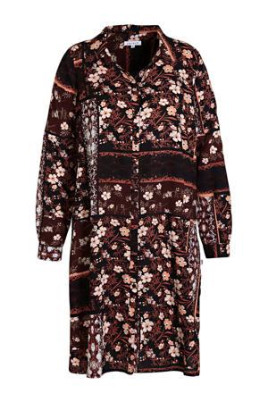 blousejurk Gita met all over print donkerrood/zwart/wit
