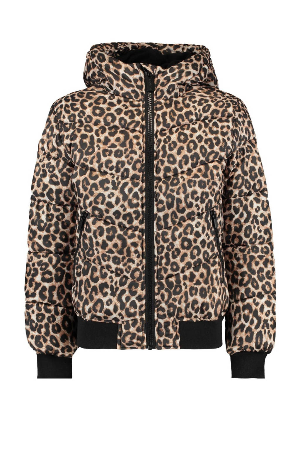 CoolCat Junior gewatteerde winterjas Jaycie met panterprint bruin/zwart, Bruin/zwart