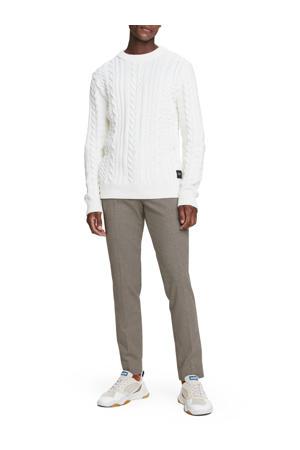 Mott slim fit pantalon met all over print bruin