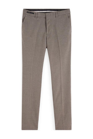 slim fit pantalon met all over print bruin