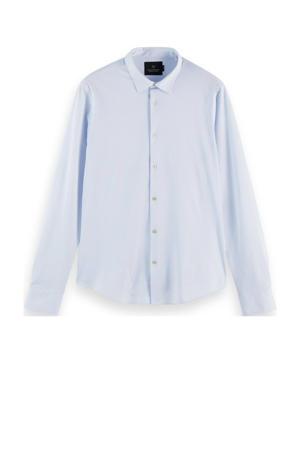 gestreept regular fit overhemd lichtblauw