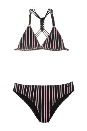 gestreepte triangel bikini Fimke zwart