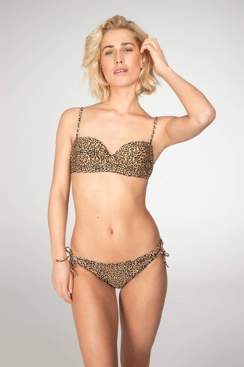 Protest strapless bandeau bikini Bay B-cup met panterprint beige/zwart, Beige/zwart
