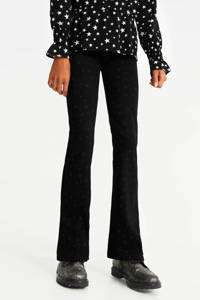 WE Fashion flared broek met all over print zwart, Zwart