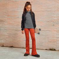 WE Fashion flared broek met panterprint brique, Oranje
