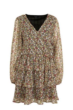 jurk Nappa met all over print en volant zwart/geel/rood