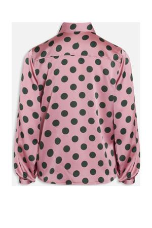 blouse met stippen roze/groen