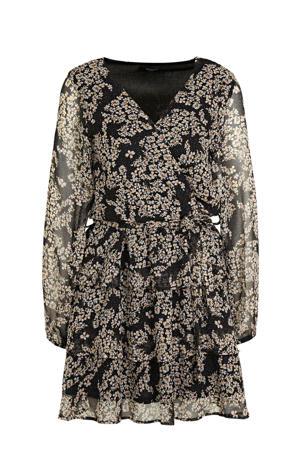 gebloemde semi-transparante jurk Nappa zwart