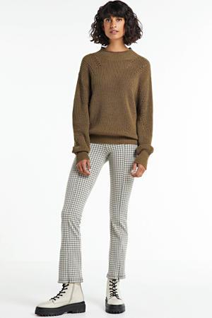 geruite cropped straight fit broek Pipi beige