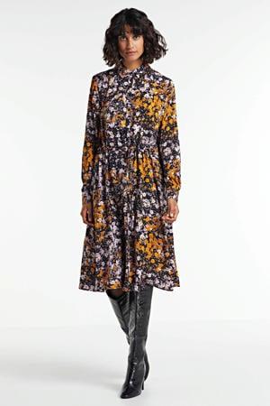 blousejurk Vike met all over print en ceintuur zwart/multi