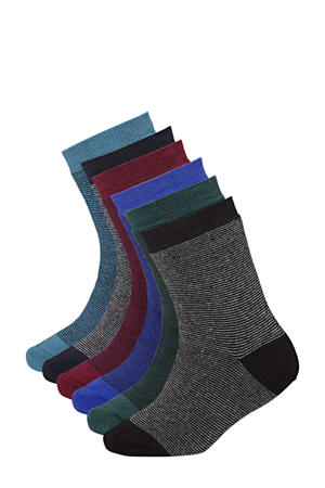 sokken zwart/blauw (set van 6)