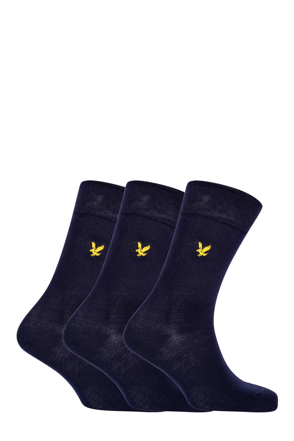 Lyle & Scott sokken Angus - set van 3 donkerblauw, Donkerblauw