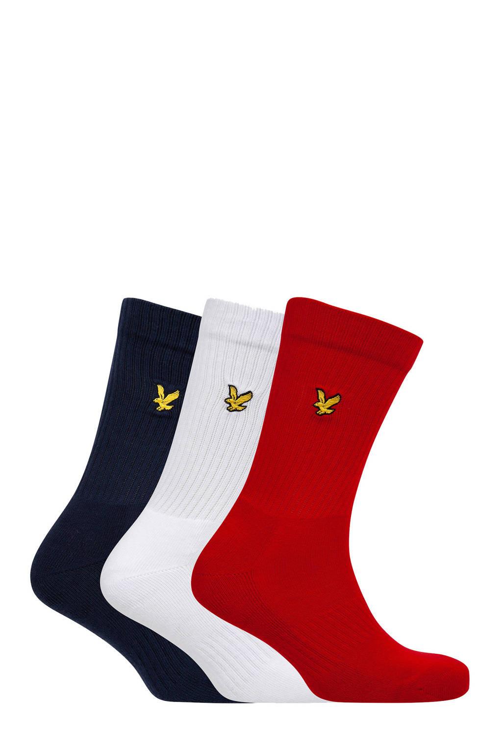 Lyle & Scott sokken Hamilton - set van 3 donkerblauw/wit/rood, Donkerblauw/wit/rood