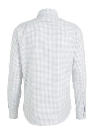 geruit slim fit overhemd wit/blauw