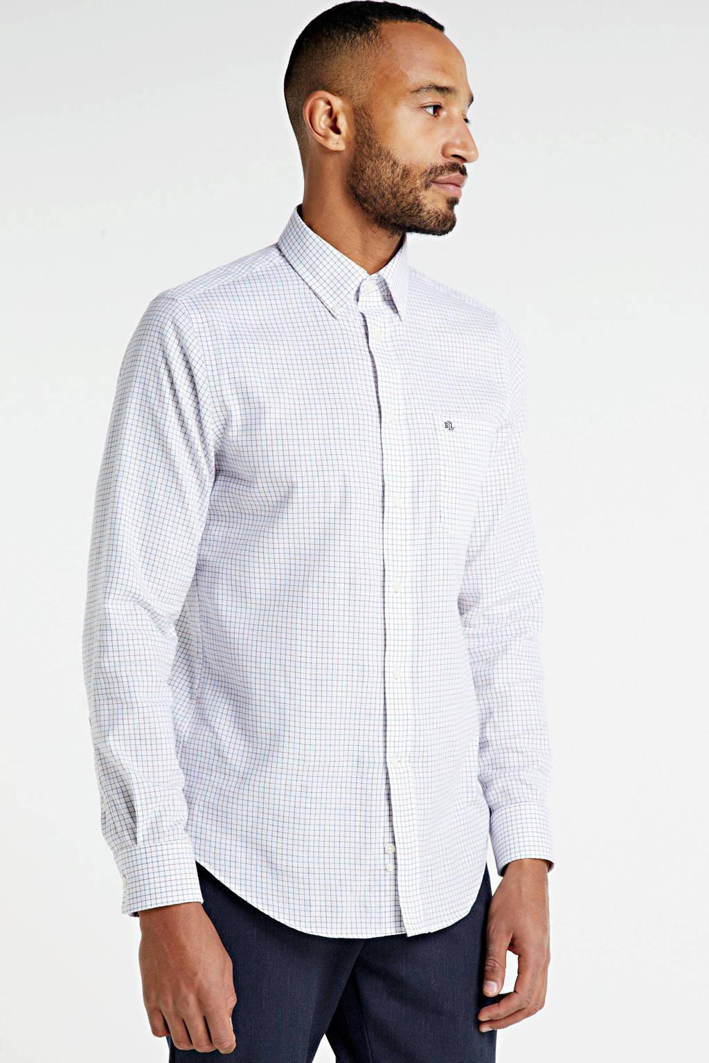 POLO Ralph Lauren geruit slim fit overhemd wit/blauw, Wit/blauw