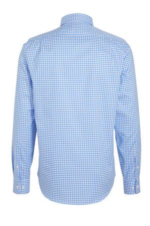 geruit slim fit overhemd blauw/wit