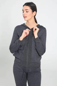 Cassis fijngebreid vest met wol antraciet/zwart, Antraciet/zwart
