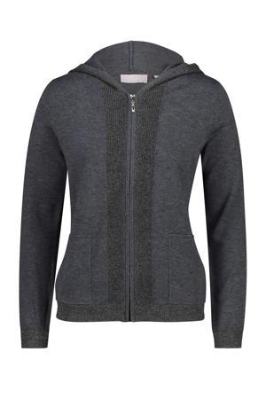 fijngebreid vest met wol antraciet/zwart
