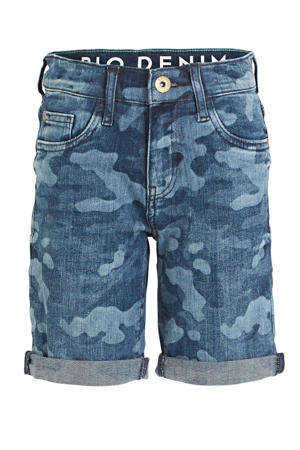 jeans bermuda met all over print blauw