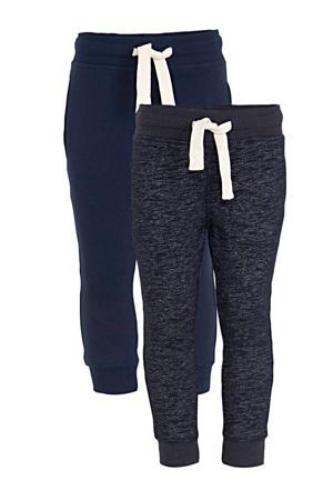 joggingbroek - set van 2 donkerblauw/melange