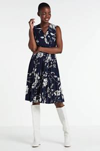 LOLALIZA gebloemde jurk donkerblauw/wit, Donkerblauw/wit