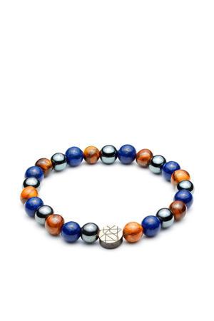 armband SL220033 blauw/zilver (8 mm)