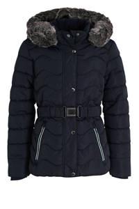 s.Oliver gewatteerde winterjas met ceintuur donkerblauw, Donkerblauw