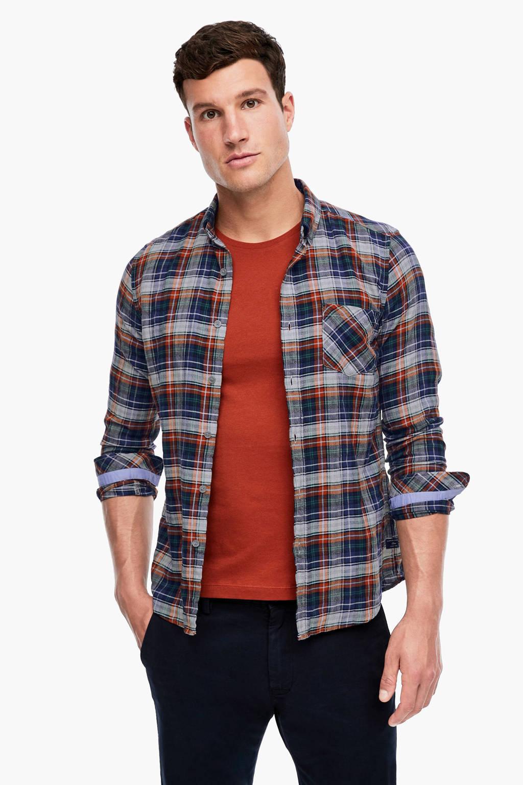s.Oliver geruit slim fit overhemd lichtgrijs/blauw/rood, Lichtgrijs/blauw/rood