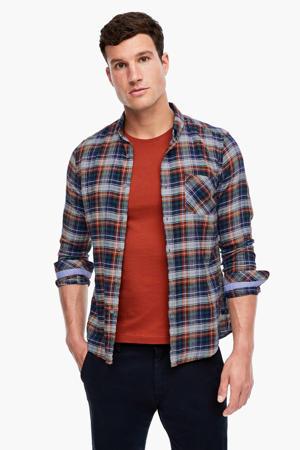 geruit slim fit overhemd lichtgrijs/blauw/rood