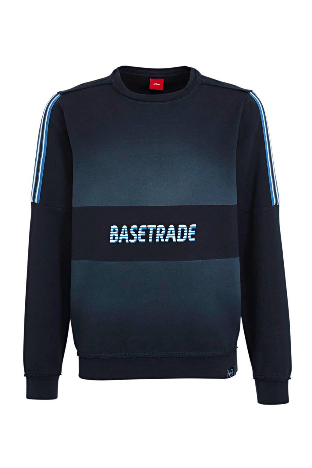 s.Oliver sweater met printopdruk donkerblauw, Donkerblauw