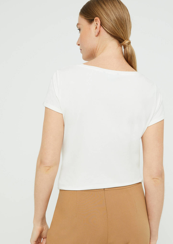 comma T-shirt met printopdruk wit, Wit